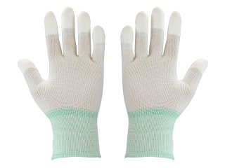 Finger tip coated cleanroom glove
